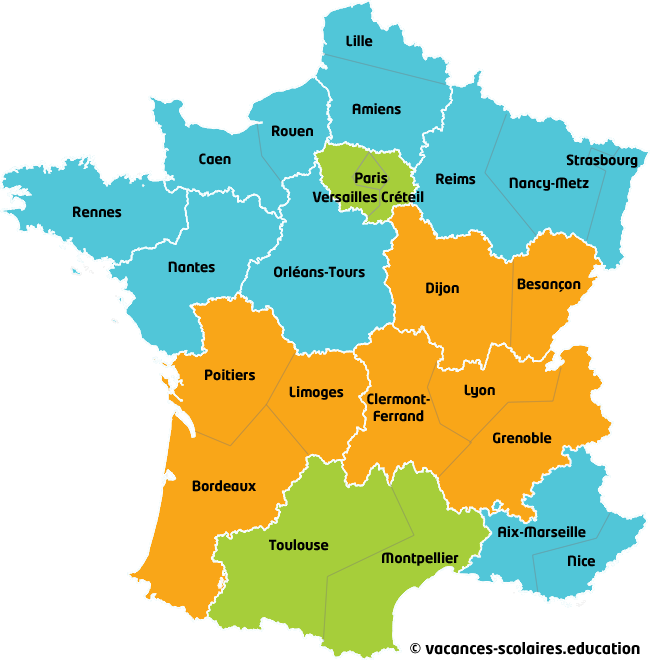carte des zones scolaires en france carte vacances scolaires en france. Black Bedroom Furniture Sets. Home Design Ideas